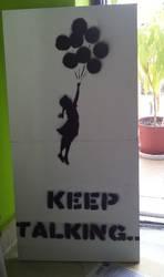 Banksy's balloon girl.. by ModokSprayArt