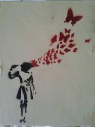 Banksy's Suicide Girl... by ModokSprayArt