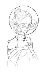 Space Girl 03 - Sketch by RahByte