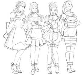 4 styles of bondage maids WIP by Caregan