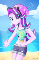 Starlight on the beach by Xan-gelX
