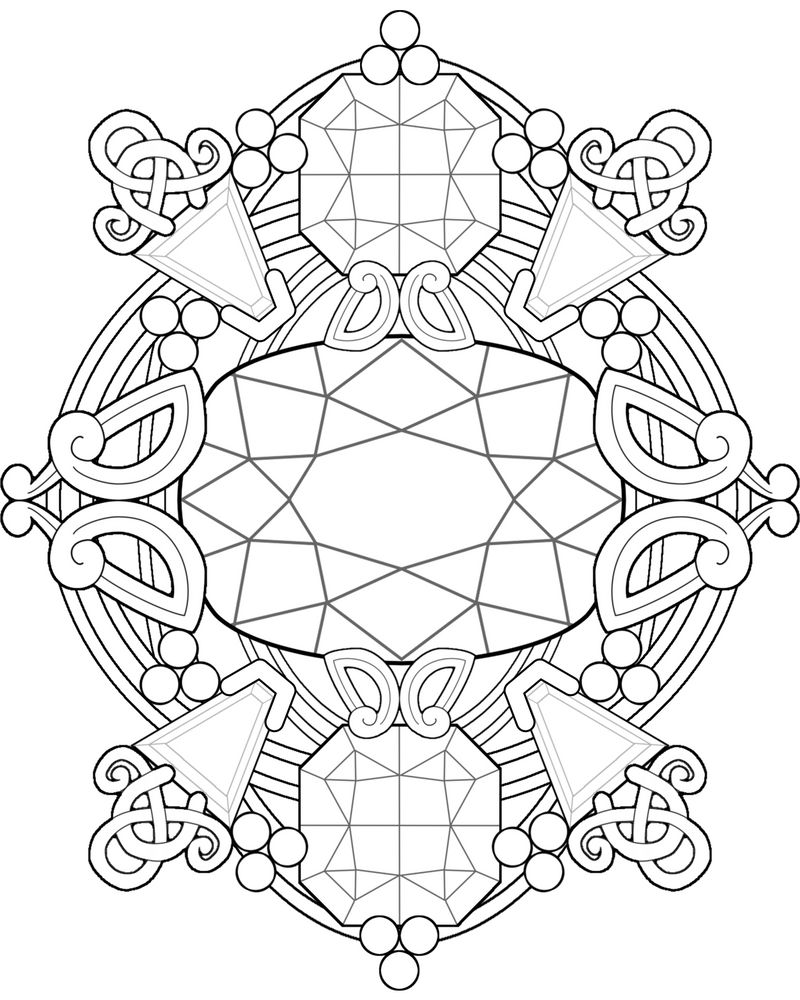 Gemstone Fantasy ~ Adult Coloring Page by Kittenpants