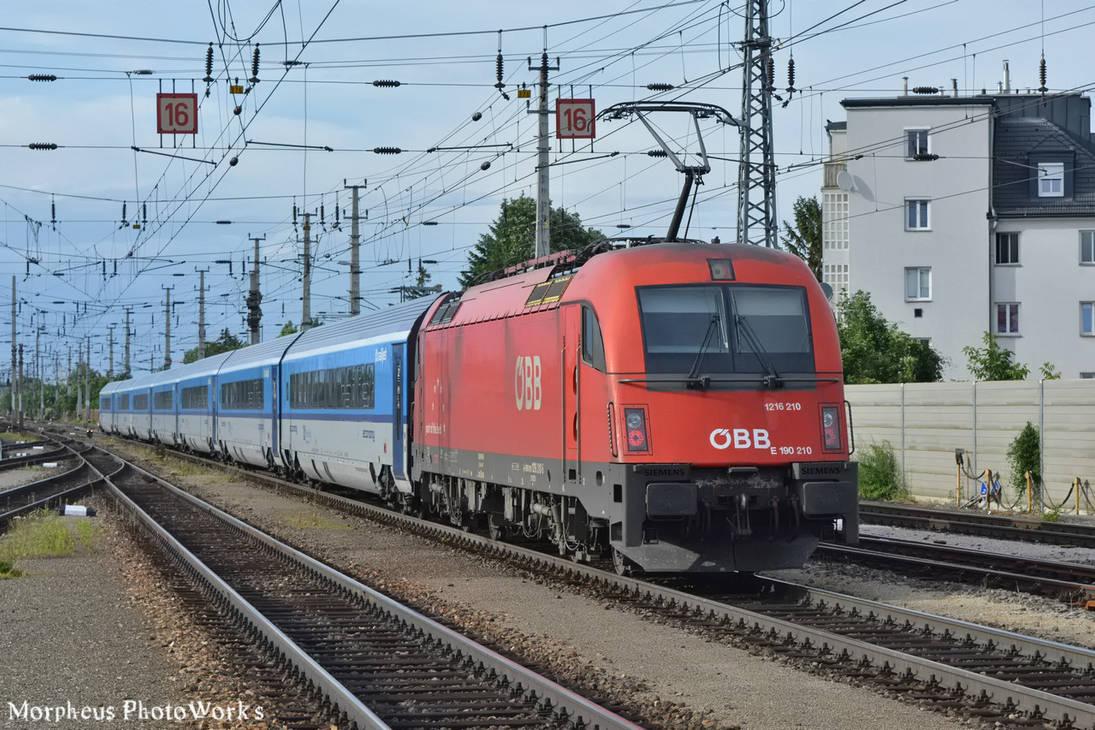 1216 210 with a Railjet in Wiener Neustadt -2016- by MorpheusPhotoworks