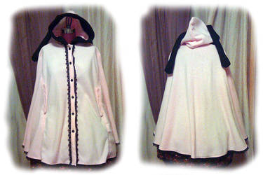 Commission: Pink and Black Bunny Ear Cape by monarch-lolita