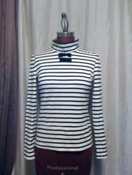 Stripe Bowtie Turtleneck by monarch-lolita