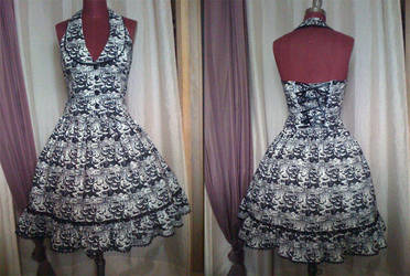 Black and White Print Halter Two-Piece by monarch-lolita