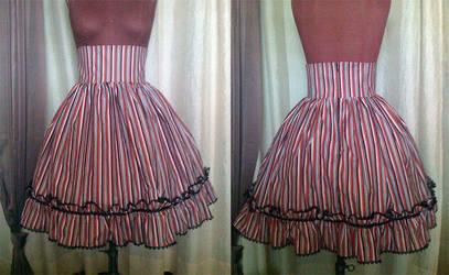 Red Stripe Skirt by monarch-lolita