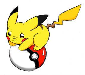 pikachu with pokeball by Naaraskettu
