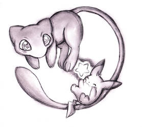 Mew and baby Pikachu by Naaraskettu