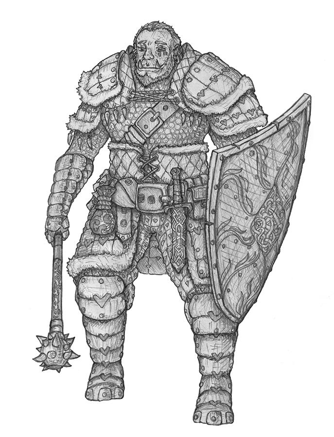 [COMMISSION] Othaug - Half-orc Cleric by s0ulafein