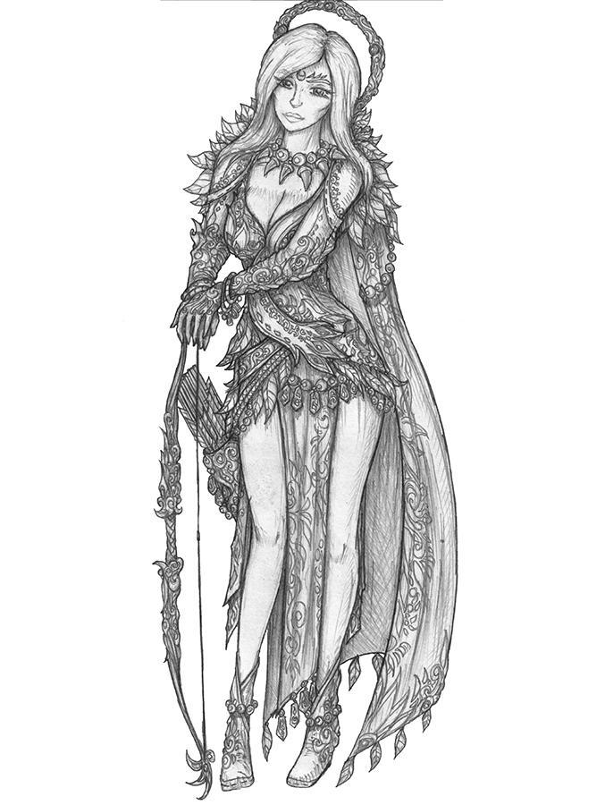 [COMMISSION] Gabbrielle Arair - Human Cleric-Druid by s0ulafein