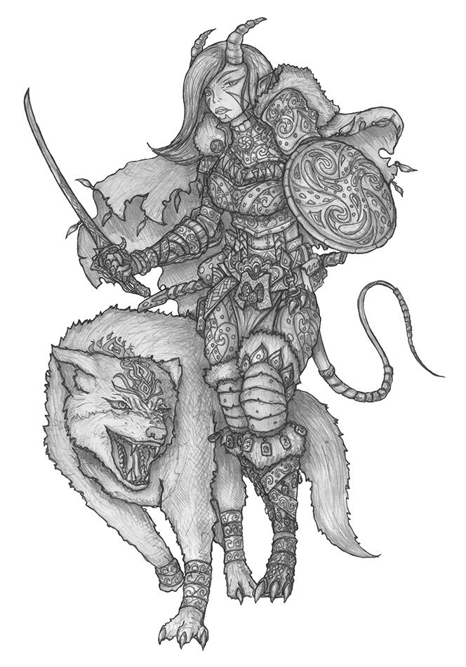 [COMMISSION] Lilli Ardat - Tiefling Hunter by s0ulafein