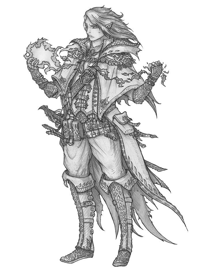 Himo Nailo - Gray elf Rogue/Wizard/Loremaster by s0ulafein