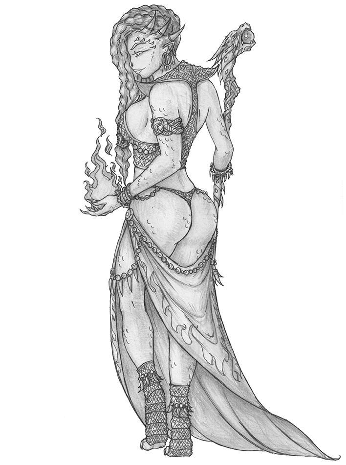[COMMISSION] Rakshi - Dragonborn Sorcerer by s0ulafein