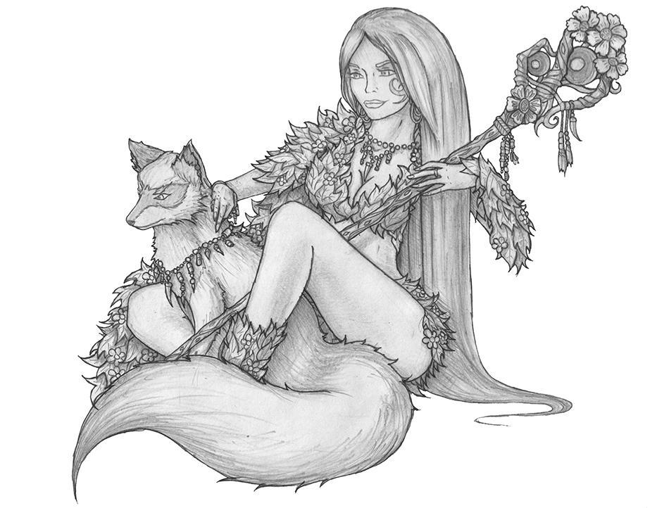 [COMMISSION] Selene - Human Druid by s0ulafein