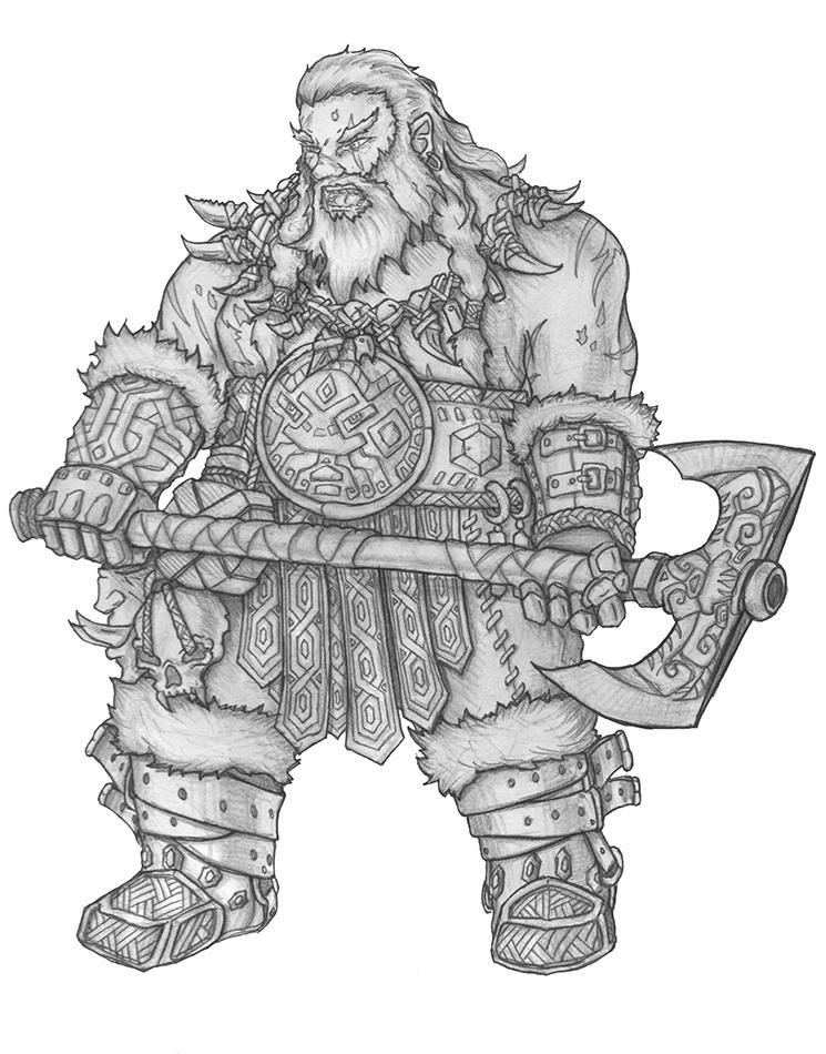 [COMMISSION] Tandar Breakstone - Dwarf Barbarian by s0ulafein