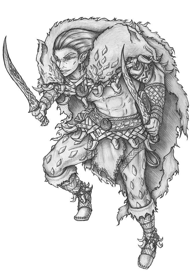 Soulafein Saerah - Wood Elf Barbarian by s0ulafein
