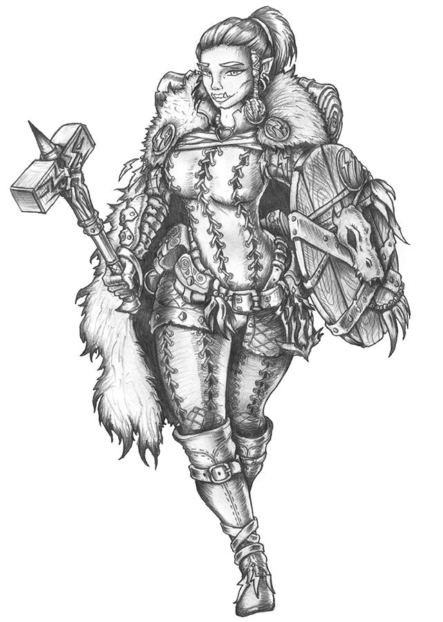 [COMMISSION] Nadine - Half-Orc Cleric of Talos by s0ulafein