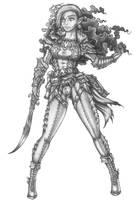 Bobbie - Half-elf Warlock Hexblade by s0ulafein
