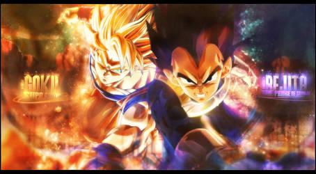 Goku and Bejita by brolyomega