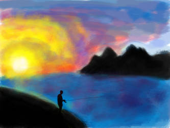 Sunset Fishing by Calyptus