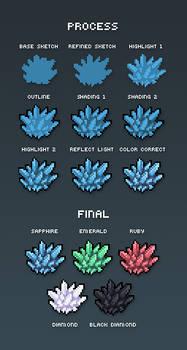 Gemstone Pixel Art Tutorial by supahbuttahtoast
