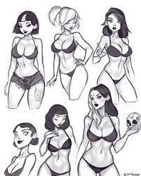 Pinup/Goth girl Sketches by Amanda-Kihlstrom