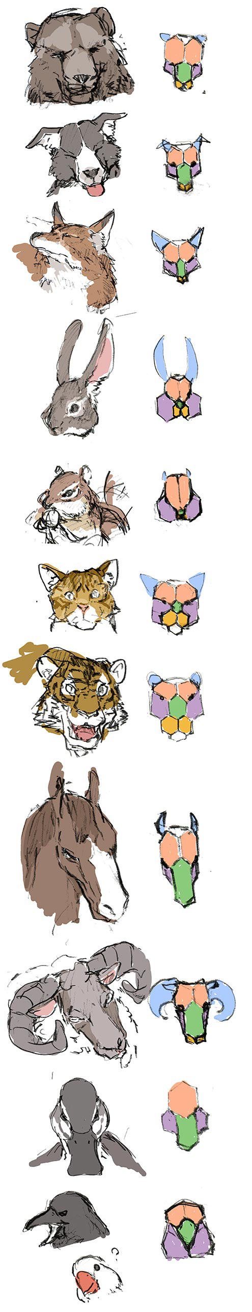 sketch-study with animal face by hira-geco