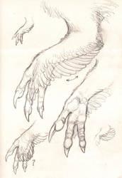 Dinosaur hand study by Paperiapina