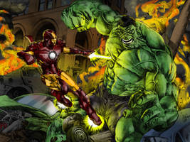 IRON MAN vs HULK color by CThompsonArt