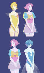 Steven universe, Blue Yellow and Pearl by atomicheartlight