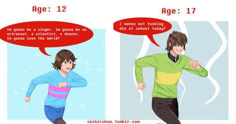 Frisk vs Kris: Age difference by atomicheartlight