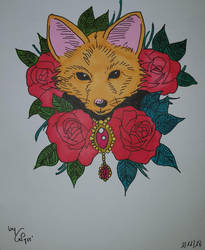 Fox and roses by Calyssie