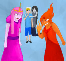 Princess Bubblegum and Flame Princess by CascadingSerenity