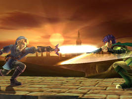 .: Blue Link VS green Ike :. by Kratos-Dream