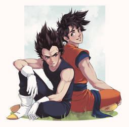 Goku and Vegeta by Emily-Fay