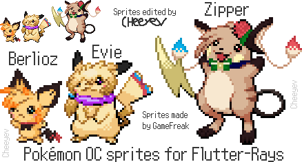 Pokemon OC sprites for Flutter-Rays by Cheeyev