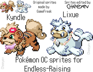 Kyndle and Lixue sprites for Endless-Raising by Cheeyev
