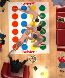 Anyone for Naked Twister! by PaulSuttonArt