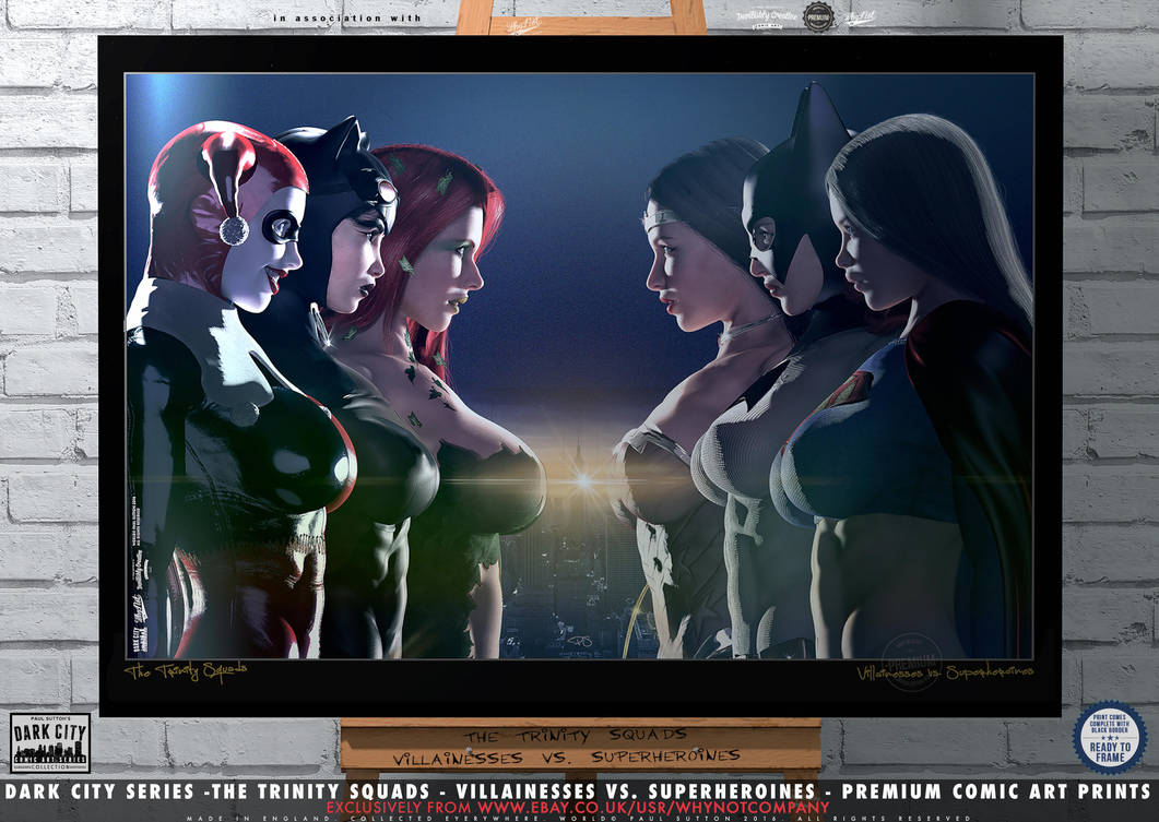 The Trinity Squads, Villainesses vs. Superheroines by PaulSuttonArt
