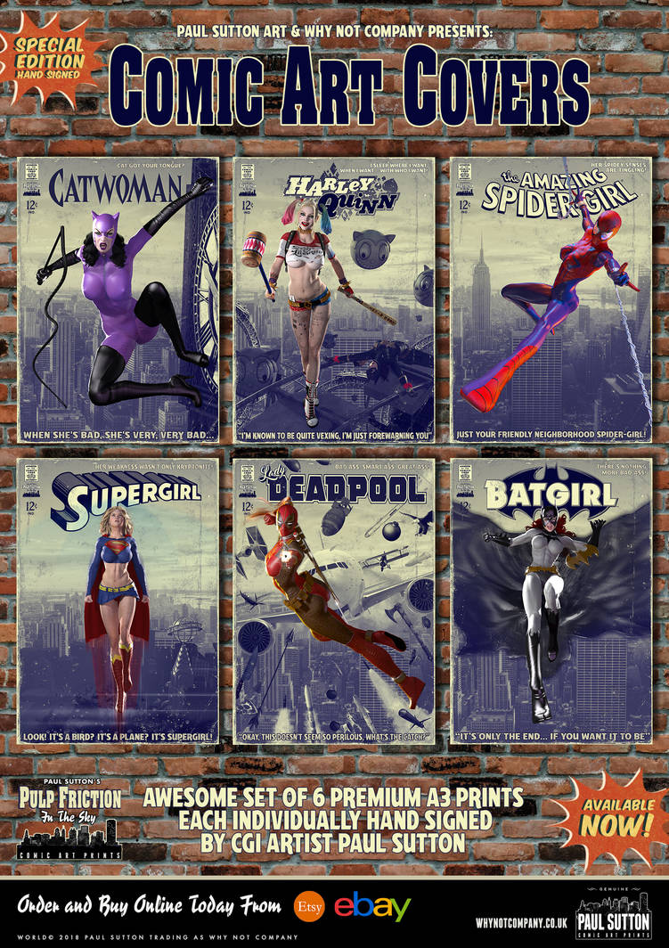 Comic Art Cover Prints - Pulp Friction in the Sky by PaulSuttonArt