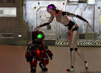 Kitty And Cyborg by Shango-ThunderStones