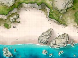 Battlemap - Beach with Cliffs by RoninDude