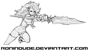 Cave Elf with Spear 3 - Sketch by RoninDude