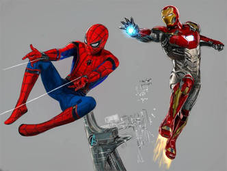 spidey + stark + avengers tower wip by willpower