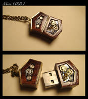 Steampunk mini USB drive Pendant 8GB by azazel-is-burning