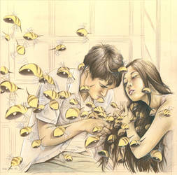 The Birds and The Bees Drawing by Foozyschtuff