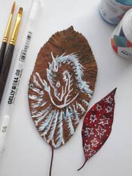 87- dragon. painting on a leaf by Rikkimaru129