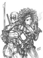 Deadpool X Domino by CdubbArt