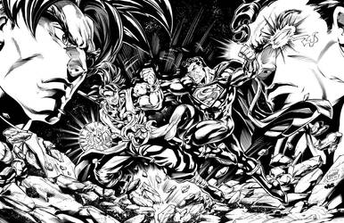Xeno Goku Vs. Superman Prime Inks by CdubbArt